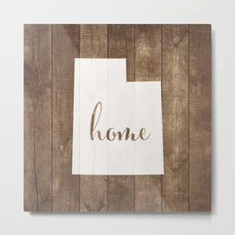 Utah is Home - White on Wood Metal Print
