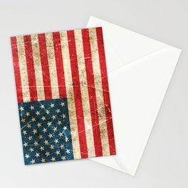 Vintage Aged and Scratched American Flag Stationery Cards