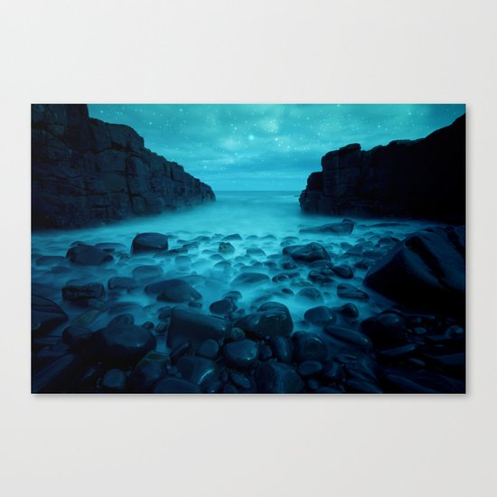 Blue Rocks Ocean and Stars Canvas Print