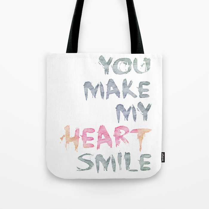 You make my heart smile ink lettering Tote Bag