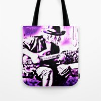 rock n roll Tote Bags featuring Rock N' Roll Gypsy by Jussi Lovewell