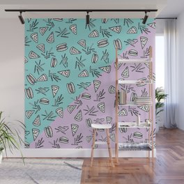 Burgers Pizza Fries in Pastel Wall Mural