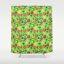 Citrus pattern on green background Shower Curtain