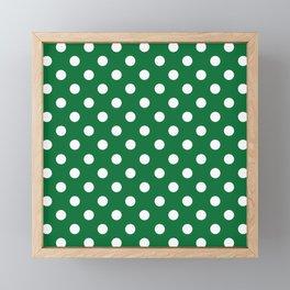 Polka Dots (White & Dark Green Pattern) Framed Mini Art Print