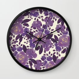 Elegant ivory gold lavender purple watercolor floral  Wall Clock