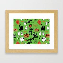 Cute Frankenstein and friends green #halloween Framed Art Print