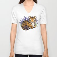 platypus V-neck T-shirts featuring Loafing Tiger, Hidden Platypus by Spoopy Surprise