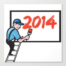 New Year 2014 Painter Painting Billboard Canvas Print