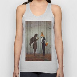 Raven and Fox in  a dark forest looking at the watch Unisex Tank Top