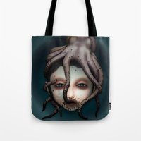 misfits Tote Bags featuring Misfits - Andromeda by Raymond Sepulveda