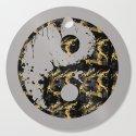 Abstract YIN AND YANG Taijitu Symbol | grey &gold by melanieviola