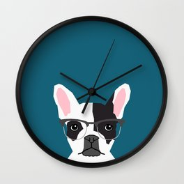 Hadley  - French Bulldog wearing hipster glasses perfect for dog lovers and owners, dog people Wall Clock