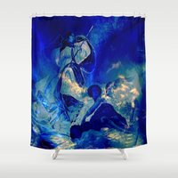 angels Shower Curtains featuring angels by  Agostino Lo Coco