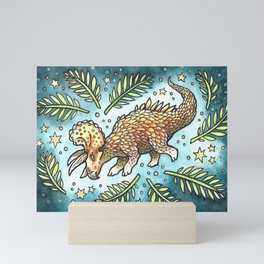 The Golden Tricera | Dinosaur Watercolor Painting Mini Art Print