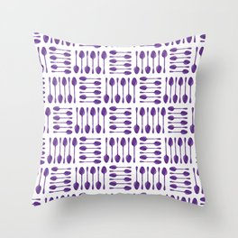 Purple Spoons Pattern Throw Pillow