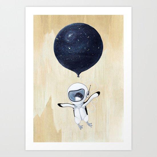 Penguin fly Art Print