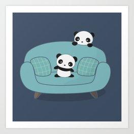 Kawaii Cute Pandas Art Print