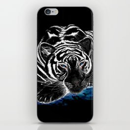 The black tiger with silver whiskers weeps over the world .. iPhone Skin
