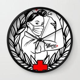 Strong Nurse I'm a Nurse Laurel Leaf We Can Do It Wall Clock
