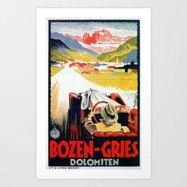 Bozen Gries Italian Alps retro convertible car Art Print