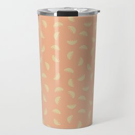 Bowl of falling fruit orange background Travel Mug