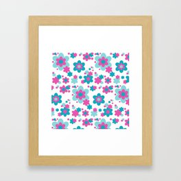 Teal Blue and Hot Pink Floral Framed Art Print