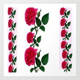 PATTERNED DECORATIVE RED ROSES  WHITE ART Art Print