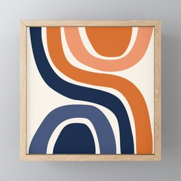 Abstract Shapes 29 in Burnt Orange and Navy Blue Framed Mini Art Print