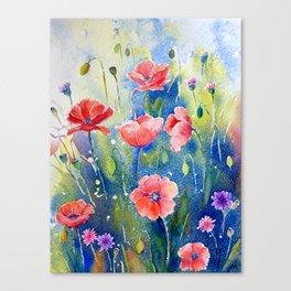 Watercolor red poppy field, wildflower meadow Canvas Print