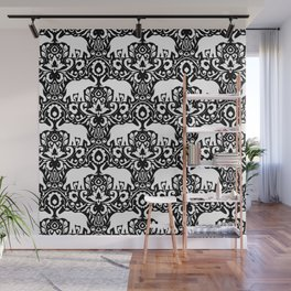 Elephant Damask Black and White Wall Mural