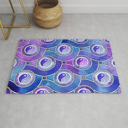 Watercolor Yin yang symbol pattern in purples and blues Rug