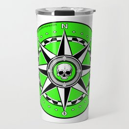 Compass Rose with Skull Center - Fluorescent Green Travel Mug