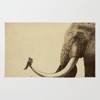 elephants Area & Throw Rugs featuring Old Friend by Eric Fan