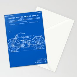 Motorcycle Patent - Blueprint Stationery Cards