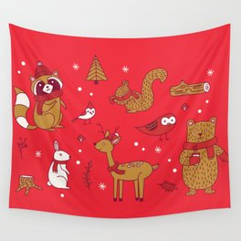 Winter Woodlands - Red Wall Tapestry