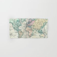 Vintage Map of The World (1801) Hand & Bath Towel