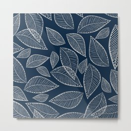 Elegant navy blue silver glitter abstract foliage  Metal Print