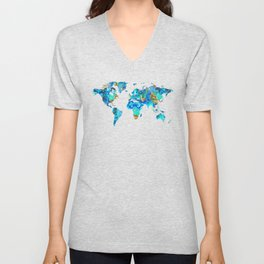 World Map 22 Art by Sharon Cummings Unisex V-Neck