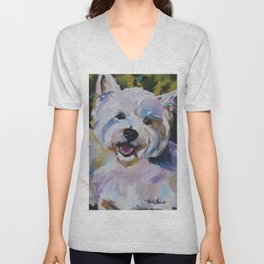 Westie Impressionism Pet Portrait Larsen 1 Unisex V-Neck