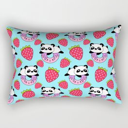 Cute funny sweet adorable playful little baby panda bears, yummy pink Kawaii donuts with sprinkles and red juicy summer strawberries cartoon light pastel blue pattern design Rectangular Pillow