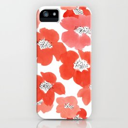 Camellia Flowers in Red iPhone Case