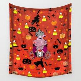 Halloween Hippo Popart by Nico Bielow Wall Tapestry
