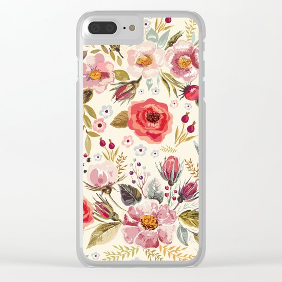 Floral Theme Clear iPhone Case