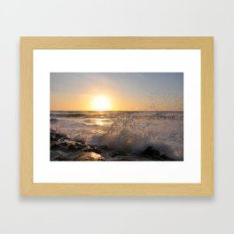 Crashing Waves at Sunrise Framed Art Print