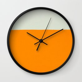 Orange and White Colors Painting Wall Clock