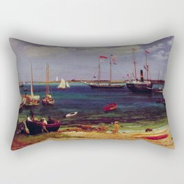 Nassau Harbor By Albert Bierstadt | Reproduction Painting Rectangular Pillow