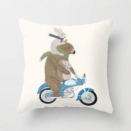 biker buddies Throw Pillow