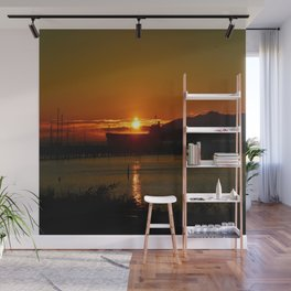 Sunset Over Columbia River At Astoria Harbor Wall Mural