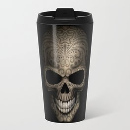 Decorated Dark Day of the Dead Sugar Skull Travel Mug