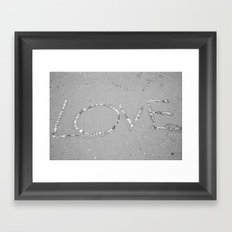 Love in the Sand - Black and White Framed Art Print